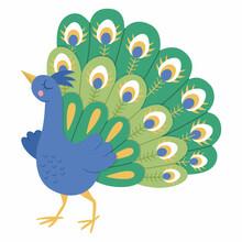 Fairy Tale Vector Peacock. Fantasy Bird With Spread Tale Isolated On White Background. Fairytale Animal Character. Cartoon Magic Icon.
