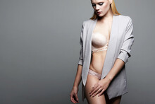 Fashion Busines Sexy Woman In Suit And Underwear