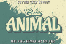 Editable Text Effect Circus Animal With Vintage Style
