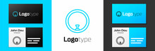 Blue Line Bicycle Wheel Icon Isolated On White Background. Bike Race. Wheel Tire Air. Sport Equipment. Logo Design Template Element. Vector