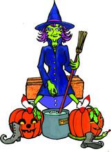 Witch Stirring A Cauldron   Halloween Monster