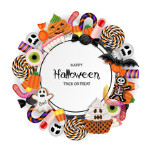 Halloween Background With Candies, Cupcakes And Cookies