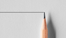 Wooden Pencil Draws A Straight Line. Stability Or Stagnancy Concept In Business