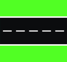 Asphalt Road Texture With White Stripes And Green Grass. Vector Illustration. Asphalt Texture With Road Marking Lines. Abstract Road Background. The Road With White Lines, Straight.