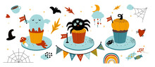 Large Set Of Cute Baby Pumpkin Cupcakes On A Plate For A Happy Halloween Party. Bat, Spider Web, Spider, Heart And Rainbow. Isolated Illustration In Flat Style For Menu, Nursery Or Holiday Decor