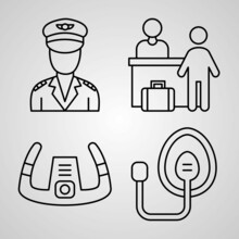 Simple Icon Set Of Aviation Related Line Icons