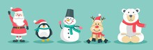 Funny Christmas Characters Set Of Santa, Snowman, Deer, Penguin, Bear, In A Hat And Scarf. Vector Illustration In A Flat Style. The Concept Of Christmas And New Year.