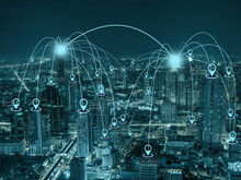 Computer Network Connection Line Between Building With Location Pin Over Scene Of Panorama Of Bangkok Cityscape Which Have Modern Building At Night Time, Connectivity And Global Networks Concept