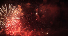 Red Firework Celebrate Anniversary Happy New Year 2022, 4th Of July Holiday Festival. Red Firework In Night Time Celebrate National Holiday. Countdown To New Year 2022 Festival Party Time Event