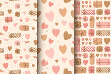 Seamless Pattern Of Cute Hearts For Valentine Day