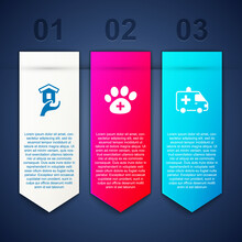 Set Shelter For Homeless, Veterinary Clinic And Ambulance Car. Business Infographic Template. Vector