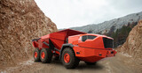 Fototapeta Kawa jest smaczna - Autonomous self-driving truck on mountain road construction