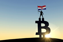 Person Waving A Croatia Flag Standing On Top Of A Bitcoin Cryptocurrency Symbol. 3D Rendering