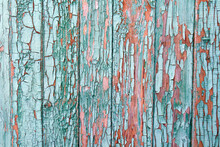 Texture Of Planks Of Old Wood With Peeling Green Paint
