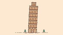 Leaning Tower Of Pisa Isolated On Light Peach Background With Small Shrubs Vector Image.