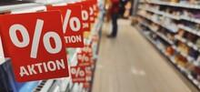 Sale Sign Supermarket Shelf, Marketing Promotion Discount