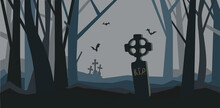 A Grave In The Night Forest. The Old Cemetery. Halloween Vector Illustration.
