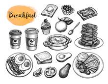 Breakfast Meal Sketches Big Set.