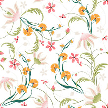 Elegant Template For Fashion Prints. Romantic Gentle Pink And Orange Wildflowers With Foliage Pattern On A White Background. Repeating Design For Wallpaper, Packaging, Cover, Textile, Print