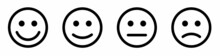 Face Smile Icon Positive, Negative Neutral. Emoji Icons For Rate Of Satisfaction Level. Happy And Sad Emoji Smiley Faces Line Art Vector Icon For Apps And Websites. Vectorv Illustration.