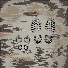 Black Footprints Of Shoes. Small Footprints Next To Large Ones. Father With A Child. Dirty Shoe Prints. Dad And Son Walk.