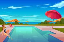 Woman Relaxing At Swimming Pool Cartoon Vector