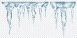 Group of translucent gray realistic icicles of different lengths, connected at the top, isolated on transparent background. Transparency only in vector format