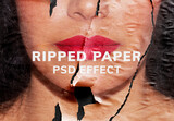 Woman with Ripped Paper Texture Effect