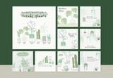 Houseplant Botanical Template Set for Social Media