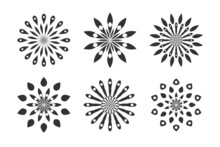 Abstract Flowers Icons. Set Of Circle Floral Patterns.
