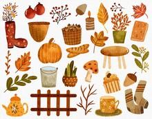 Autumn Mood Hand Painted Watercolor Elements. Boots, Branch, Walnut, Candle, Leaf, Maple Leaf, Pot,  Bread, Pumpkin, Mushroom, Bucket, Cupcake, Socks, Flower, Leaves, Fence, Coffee Illustrations