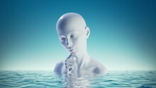 3d Render, Abstract Blue Background With White Mannequin Female Bust In The Water. Woman Head Sculpture. Philosophical Metaphor, Thinking Concept