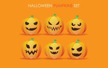 Halloween Pumpkins. Spooky And Angry Orange Pumpkin Jack Lantern Characters Set.