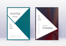 Stylish Cover Design Template Set. Red Abstract Li