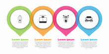 Set Surfboard, Cable Car, Scooter And Car. Business Infographic Template. Vector