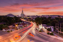 Aerial View Pagoda At Wat Sothon Wararam In Sunset Time, Chachoengsao Province, Thailand