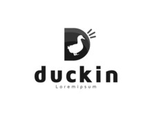 Modern Letter D Logo With Duck Illustration
