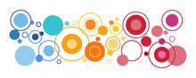 Portada De Círculos De Colores De Diferentes Tamaños. Concepto De Decoraciones Y Arte. Ilustración Vectorial.