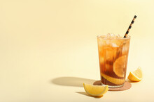 Glass Of Tasty Long Island Iced Tea On Color Background