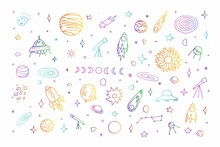 Space Doodle Set. Planet, Rockets, Stars, Comets, Ufo, Asteroid, Moon, Constellations Isolated On White Background. Color Astronomical Objects Collection. Vector Children Education Cute Illustration
