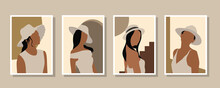 Creative Minimalist Abstract Background With Flat Women Design. Design For Wall Decoration, Postcard, Poster Or Brochure
