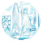 Fototapeta Nowy Jork - Szkic miasta Nowy Jork na białym tle