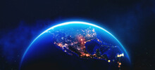 View From Space. Art Concept. Earth Orbit. North America And Night Lights Of Cities. Planet In Space 3d Illustration. Elements Of This Image Are Furnished By NASA