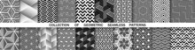 Geometric Set Of Seamless Black And White Patterns. Simple Vector Graphics