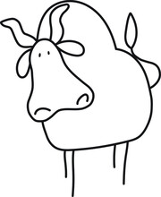 Cute Happy Little Funny Looking Bull Character With Horns, A Tail, A Big Nose And Nostrils And Stickfigure Legs Vector In Black And White Using Only Black Lines With A Transparent Background Cartoon