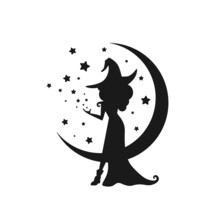 Black Witch With Stars And Crescent In The Night Sky. Half Moon And Stars And Hag In Hat.