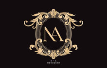 Coat Of Arms NA Initial Letter. Graphic Name Frames And Border Of Floral Designs, Applicable For NA Monogram, For Insignia, Wedding Couple Name, Badge Label Premium Design.