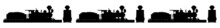 Highly Detailed Train Silhouettes.  Steam Train Silhouettes. Old, Engine, Power, Smoke, Station, Steam, Steel, Transport, Transportation, Track, Coal, History, Illustration, Locomotive.