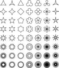 星形やお花の形バリエーションセット白黒