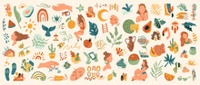 Abstract Modern Trendy Various Shapes, Objects, Plants And Animals Isolated Doodle Hand Drawn Flat Cartoon Icons Set. Vector Resting Woman, Avocado Fruit, Moon And Flowers, Vases And Birds, Glasses